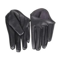 kadınlar için siyah deri eldivenler toptan satış-Moda Hot Lady Kadın Sıkı Yarım Palmiye Eldiven Suni Deri Beş Parmak Siyah