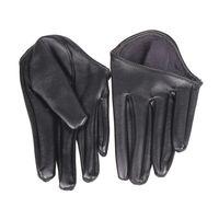 schwarze lederhandschuhe für frauen großhandel-Mode Heiße Dame Frau Enge Halbe Palm Handschuhe Kunstleder Fünf Finger Schwarz