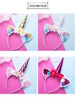 cintas para la cabeza metálicas anudadas al por mayor-Lindo Mágico Unicornio Cuerno Cabeza Fiesta Niño Niña Cabello Diadema Vestido de lujo Cosplay Decorativo