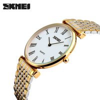 Wholesale blue colour watches for sale - Group buy SKMEI Lovers Watches Men and Women Fashion Casual Watch Steel Strap Simple Waterproof Multiple Colour Quartz Wristwatches