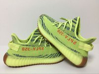 Wholesale box tab - Semi Frozen Yellow Zebra 350 V2 B37572 Running Shoes Best Quality Yebra Gum Bottom Orange Tab-Dots Wide Pattern With Box Size US5-US13
