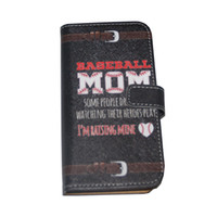 """Wholesale baseball phone covers - Wallet Phone Case PU Leather Cover 4.7"""" Protective Shell Flip Carrying Case Credit ID Card Slot Holster Phone Bag Baseball Mom Black"""