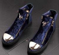 zapatos de moda masculina al por mayor-2019 Nueva moda Cómoda cremallera de terciopelo Zapatos planos ocasionales Diseñador Masculino vestido de fiesta Mocasines Plataforma Zapatos Martin botines