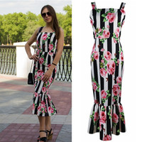 Wholesale tight dress casual lady - Retro Printed Floral Tube Dress for Women Summer Fashion Ruffles 2018 Lady Slim Fit Tight Bodycon Night Out Pencil Tank Dresses