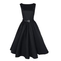 schwarzes kleid für große frauen großhandel-Frauen Kleider Oansatz Vintage Sleeveless Beiläufige Party Robe Rockabilly 50s Vestidos mit Big Swing Kleid Schwarz S-2XL