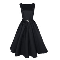 Wholesale big swing resale online - Women Dresses O neck Vintage Sleeveless Casual Party Robe Rockabilly s Vestidos with Big Swing Dress Black S XL