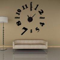 nouvelles horloges modernes achat en gros de-Nouveautés Décor À La Maison Mur Horloges Creative Diy 3D Numérique Miroir Art Moderne Autocollants Acrylique Nombre Personnalité Intérêt 12 mj jj