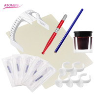 Wholesale Tattooing Starter Kits - 15pcs  Set Permanent Makeup Eyebrow Tattoo Kits Practical Microblading Pen Needle Paste Skin Ruler Tools For Beginners