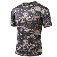 clothing camouflage shirts оптовых-Тактический футболка Compress Quick Dry камуфляж футболки Мужская одежда армия Hunter Combat Camo с коротким рукавом футболки