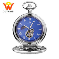 Wholesale vintage skeleton automatic watch - Ouyawei Vintage Blue Automatic Mechanical Moon Phase Pocket Watches With Chain Skeleton Dial Men Clock Necklace Pocket Fob Watch