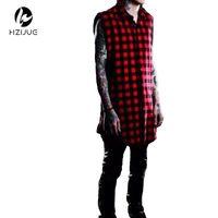 Wholesale Tyga Shirts - Hzijue White  Red Plaid Xxxl Long Back Zipper Streetwear Swag Man Hip Hop Skateboard Tyga T -Shirt T Shirt Top Tees Men Clothing