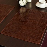 Wholesale Polyester Rectangle Tablecloths - Leather Placemat European Style Crocodile Pattern Table Mat Insulation Pad Mat Decorative Coffee Coasters Waterproof Tablecloths Pad OOA4177