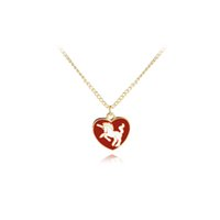 Wholesale horse gifts for girls for sale - horse necklaces girl heart enamel necklaces pendants red white necklace for birthday chain necklace gift best friend jewelry