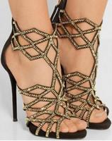 ingrosso alta gabbia-Sandali donna geometrica laser cristallo tacco alto decorato scarpe con tacco alto scarpe 2018 più nuovo posteriore cerniera gabbia scarpe oro nero
