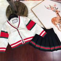 ingrosso uomini coreani v maglione-Due pezzi bambini abbigliamento bambino Set gonna bambini coreano maglione Suit Child Suit uomo e donna bambini manica lunga tempo libero Twinset