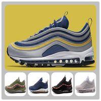 Wholesale men hoes - 97 OG Michigan running shoes OG Triple black Metallic Gold Silver Bullet WHITE 3M Premium Sports hoes 97 sneaker Footwear free shipping