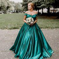 bola sexy vestidos de noche verdes al por mayor-Vestidos de noche de talla grande y verde oscuro Apliques de hombros Vestido de fiesta de satén con cuentas Vestidos de baile Vestido de noche formal Vestidos de noche 2018