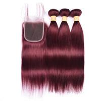 bordo saç örgüleri toptan satış-Brezilyalı Bordo Virgin İnsan Saç Dantel Kapatma 3 Demetleri Ile Renk 99J Şarap Kırmızı Düz Saç 4x4 Ile Dantel Kapatma Örgüleri