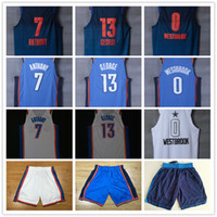 Wholesale men s basketball 13 - HOT CITY EDITION New Authentic oklahoma city Basketball Jersey Men Jerseys carmelo Anthony paul George russell westbrook Jersey