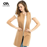 Wholesale camel wool coat women - CAYA BOX 2016 autumn fashion Wool Blend Camel long waistcoat women basic coats plus size Vest Sleeveless Coat