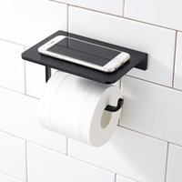 Wholesale waterproof paper holder - Silver Black Space Aluminum Paper Holder with Mobile Phone Shelf Toilet Paper Holder Waterproof Wall Mounted Bathroom Toilet Paper Holding