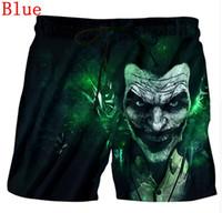 Wholesale joker trousers - Fashion Men Beach Shorts 2018 Short Homme Print 3D Anime Big Mouth joker Bermuda Quick Dry Drawstring Boardshort Fitness Trouser