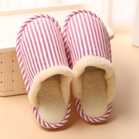 Wholesale ladies home slippers - Women's Indoor House Wood Floor Flax Cotton Slippers Winter Warm Anti-Slip Comfortable Ladies Girls Home Hotel Furry Lined Stripe Lazy Shoes