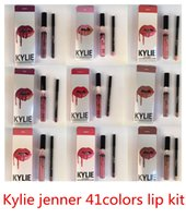 Wholesale Lipstick Pens Wholesale - New Stocking! Latest Kylie Lip Kit by Kylie jenner Lip gloss lipstick 42 colors non-stick line pen matte lipsticks 1set=1lipstick+1lipliner