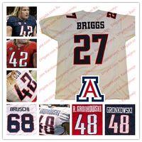 roseau rouge achat en gros de-NCAA Arizona Wildcats # 27 Lance Briggs 42 Brooks Reed 48 Rob Gronkowski 68 Maillots De Football Tedy Bruschi College Bleu Marine Rouge Blanc S-4XL
