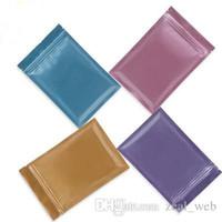 envoltório azul venda por atacado-DHL sólida matte cor saco da folha de alumínio Auto saco de vedação sacos com zíper embalagem do pacote de plástico azul verde rosa