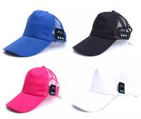 Wholesale Net Beanies - New bluetooth earphone music player bluetooth headset sport wireless Stereo music headphone Net Breathable hat cap 250 PCS