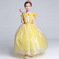 gelb performance tutu großhandel-Mädchenkleider Princess Dress Summer Beauty und Biest gelbes Kleid Performance Kleidung Halloween Kindertag