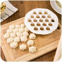 Wholesale Dough Dumpling Press - Kitchen Pastry Tools DIY White Plastic Dumpling Mold Maker Dough Press Dumpling 19 Holes Dumplings Maker Mold Tools 21x 2cm