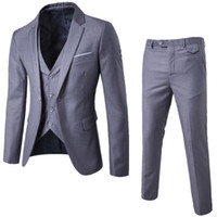 trajes de negocios de calidad para los hombres al por mayor-2017 nuevos hombres de la llegada traje de negocios Slim Fit trajes masculinos clásicos Buena calidad trajes de boda para hombres 3 piezas (chaqueta + pantalón + chaleco)
