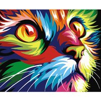 Wholesale oil paintings online - Digital Diy oil painting by numbers wall decor on canvas oil paint coloring by number drawing animals god cat deer picture
