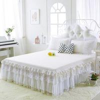 zwei bettdecken großhandel-Baumwolle Bett Röcke Weiß Embroidee Spitze Bettdecke Bettlaken für Hochzeit Twin Full Queen King Size Prinzessin Bettdecke