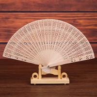 fan antique achat en gros de-Logo personnalisé! Ventilateur de bois de santal chinois parfumé en bois ajouré artisanat ventilateur personnel ventilateurs de pliage à la main pour mariage anniversaires décoration