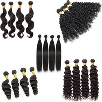 Wholesale Natural Hair Blonde Curly - 7A Peruvian Indian Malaysian Cambodian Brazilian Virgin Human Hair Straight Loose Deep Body Wave Curly Hair Weave Bundles Natural Black