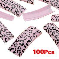 ingrosso disegno del leopardo di arte del chiodo-100pcs Black Leopard Dots Pink False acrilico francese gel UV Nail Art Design Suggerimenti