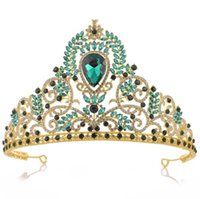 ingrosso blu corona tiaras-Pageant Crown Princess Queen Tiara Nuziale di cristallo strass fascia copricapo Rosso verde blu accessori per capelli gioielli ornamento