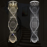 Wholesale hotel large staircase chandelier online - Long Spiral LED Crystal Ceiling Light Lustre Crystal Chandelier Light Rain Drop Ceiling Lamp for Lobby Staircase Stairs Foyer Large Crystal