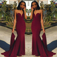 Wholesale hot girls backless - Hot Sell Burgundy Prom Evening Dresses Sheath Sweetheart Women Occasion Dress Black Girls Bridesmaids Gowns Cheap 2018 BA8866