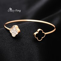 Wholesale Open Clover - whole saleHigh Quality Clover Open Bangle For Women Gold Color Jewelry Fashion Female Bracelets & Bangles Crystal Rhinestone Bangle Bijoux