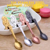 Wholesale Spoons Desserts Stainless - Stainless Steel Spoon Mermaid Hanging Cup Spoon Dining & Bar Tableware Small Tea Ice Cream Sugar Cake Dessert Dinnerware Spoons Scoop