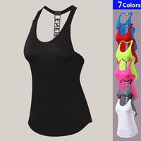 Wholesale dry fit shirts women - Sexy Fitness Tight Sport Yoga Shirt Dry Fit Sleeveless Sportswear Blouses Running Vest Workout Crop Top Female T-shirt S-2XL