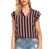 475cf8f6e3a6 Summer Tops For Womens Tops and Blouses 2018 feminina Streetwear Striped Shirts  Tunic V Neck Ladies Top Harajuku Clothes