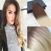 Wholesale ombre real hair for sale - Group buy Balayage Ombre Human Hair Extensions Color Chololates Brown Fading to Bleach Blonde Double Weft Real Hair