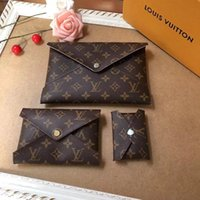Wholesale purple gold striped tie for sale - Luxury brand men s and women s casual clutch bag wallet Italy classic leather business star true leather shoulder bag three in one