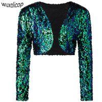 Wholesale Sequin Shrugs - Wholesale-Vintage Women Cropped Blazer Bolero Shrug Clubwear Party Costumes Shiny Sequin V-Neck Short Vest Sexy Cardigan Jacket Coat