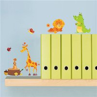 Wholesale rolling monkey - Jungle Adventure Animals Wall Stickers for Kids Rooms Safari Nursery Rooms Baby Home Decor Poster Monkey Wall Decals Wallpaper
